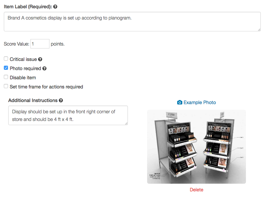Screenshot of IntouchCheck and how you are able to attach planograms and detailed guidelines for retail checklists